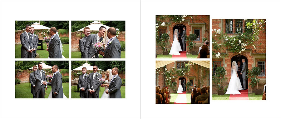 Wedding ceremony outdoors in the walled garden at Creeksea