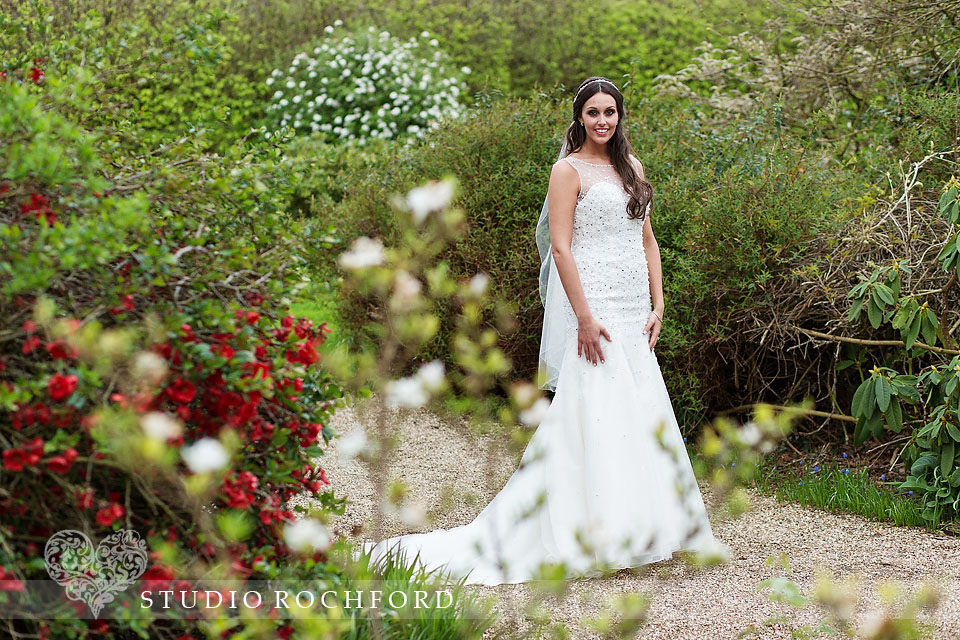 Gaynes Park Epping Wedding Photography Bride in Gardens