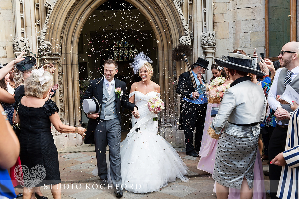 Confetti at The Great St Mary's Church wedding Cambridge