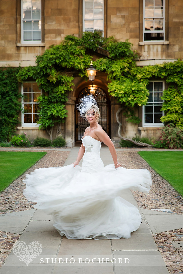 Enzoni Harika wedding dress trinity hall cambridge