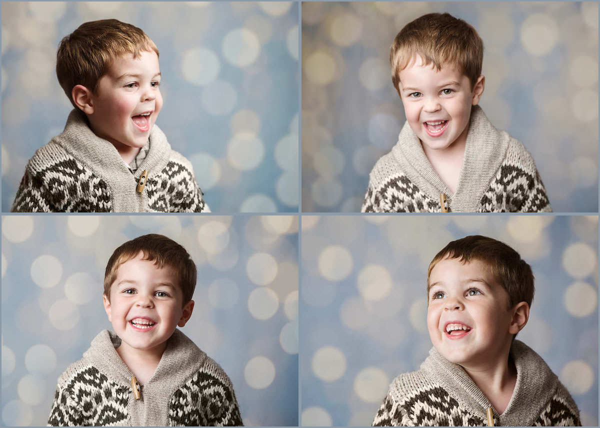 Little boy on sparkly christmas background for Xmas portrait mini session